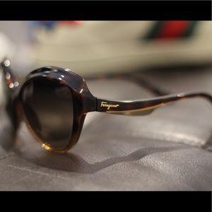 Salvador Ferragamo Tortuous/Gold Sunglasses